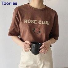 ФОТО summer korean new women style t shirts short sleeved rose letters print tee shirt o-neck harajuku loose cotton streetwear tees