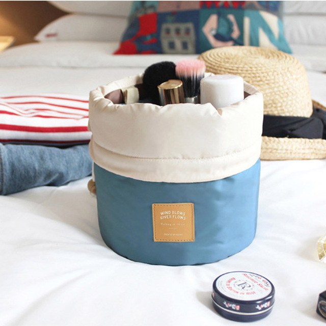 High Capacity Barrel Shaped Travel Women Brand Cosmetic Bags Nylon Organizer Toiletry Makeup Bags For Women Ladies Box Neceser
