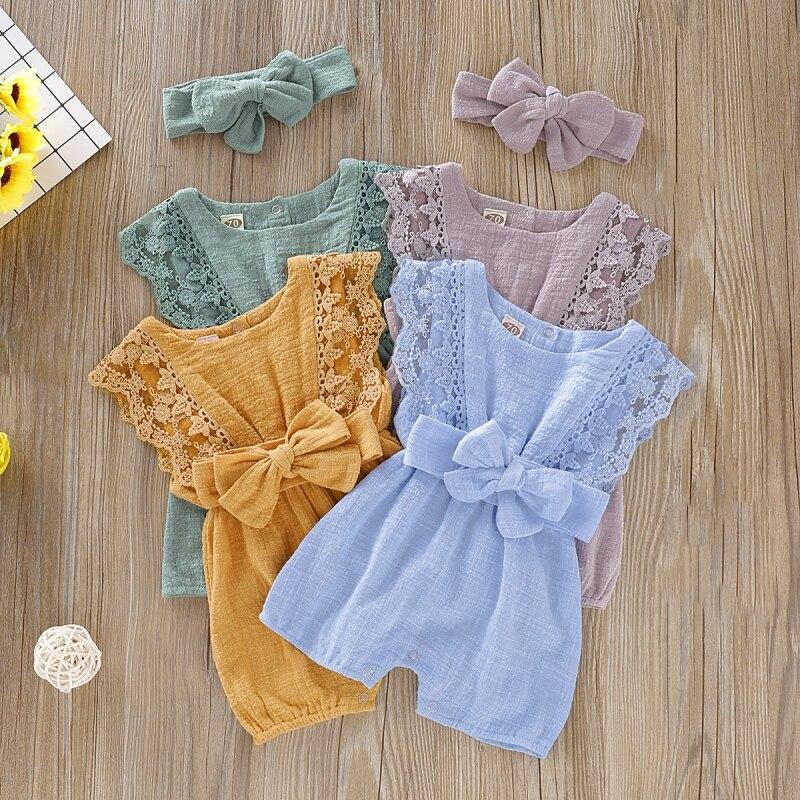 Bebê meninas bodysuit roupas de verão crianças