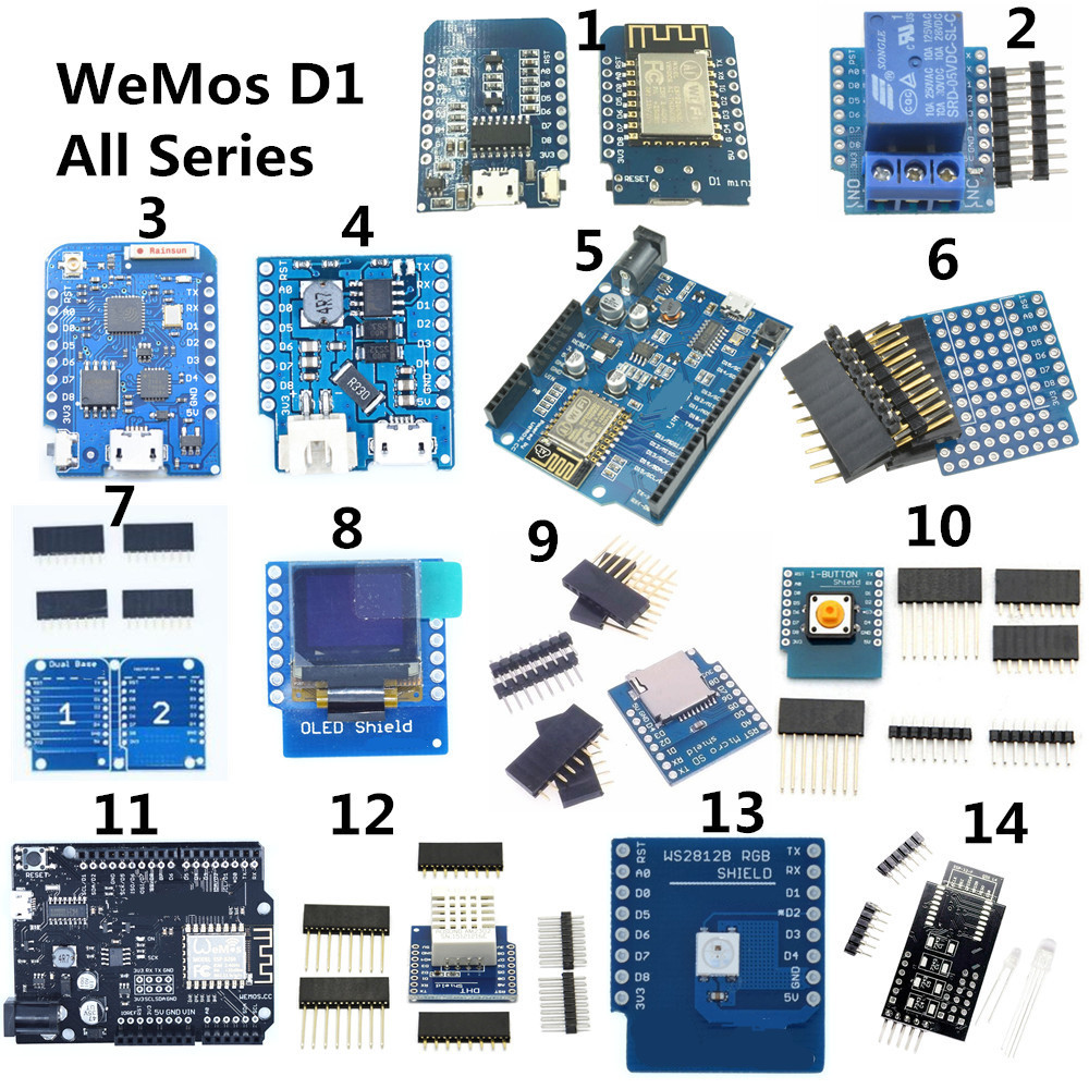 Pour WeMos D1 MINI ESP8266 WiFi Kit ESP-12F ESP-12E DHT22 AM2320 CP2104 CH340 Module de relais micro carte SD carte de développement de bouclier