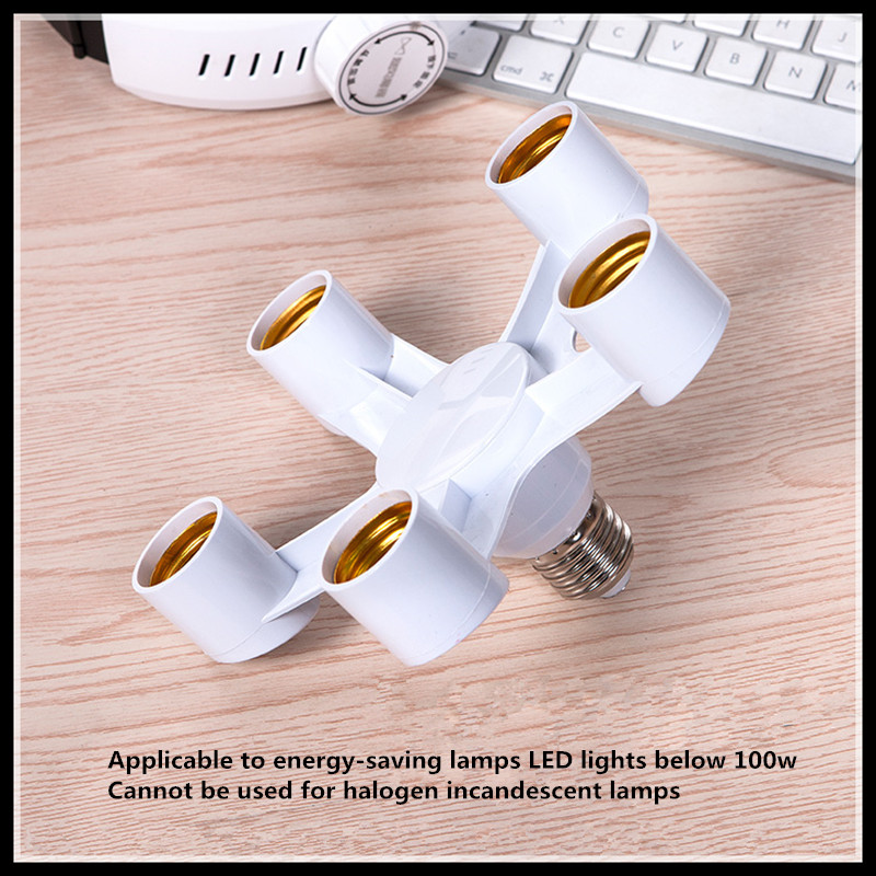 Screw E27 turn five screw head E27 head lamp LED energy-saving lamp holder 5pc цена