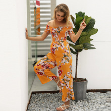 MUXU floral wide leg jumpsuit europe and the united states jumpsuits rompers backless floral jumpsuit bodies woman body 2018 green backless tiered flared details floral print self tie design wide leg jumpsuit