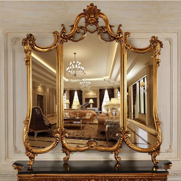 d9423e44e Refinado estilo europeu de luxo espelho escultura em madeira decoração de  parede Hotel ou salão de