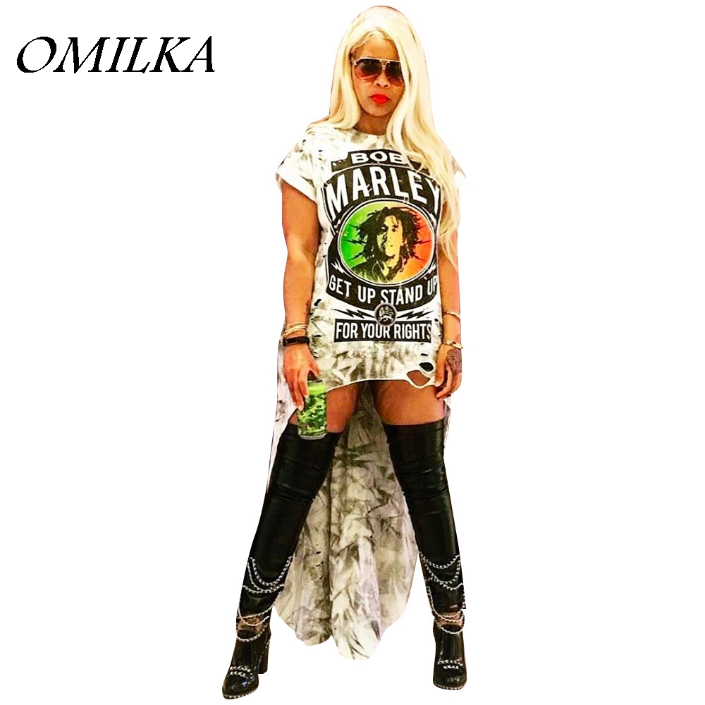 OMILKA High Low Hip Hop <font><b>Dress</b></font> 2019 Autumn Women Short Sleeve O Neck Letter Printed <font><b>Rock</b></font> Punk Front Short Back Long Casual <font><b>Dress</b></font> image
