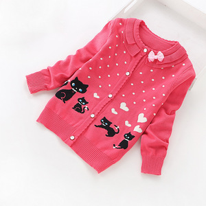 Image 4 - 2016 new children cardigans girls lovely cotton sweaters 3 16 years fashion cotton cardigan 8518