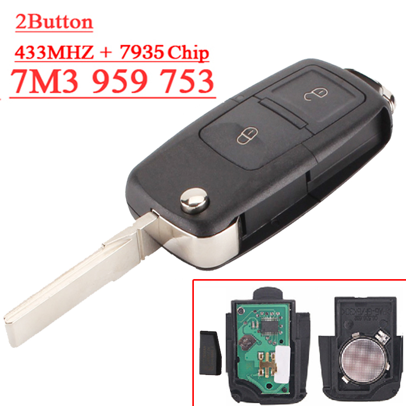 Fast shipping (1 piece) remote key 7M3 959 753 2 button Flip remote with 433MHZ  7935 chip for vw key