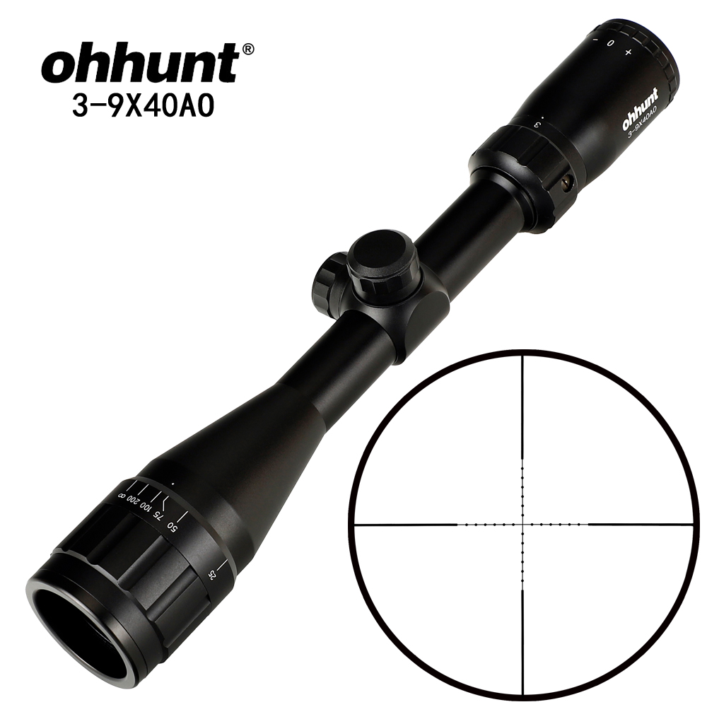 Ohhunt 3-9X40 AO 1 Polegada Tubo Hunitng Fio Mil Dot Retículo Riflescope Tático Mira Óptica para Sniper Rifle Scope Airsoft