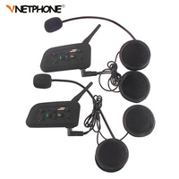 2PCS Pro BT Interphone 1200M Wireless Motorcycle Bluetooth Helmet Intercom Headset For 6 Rider