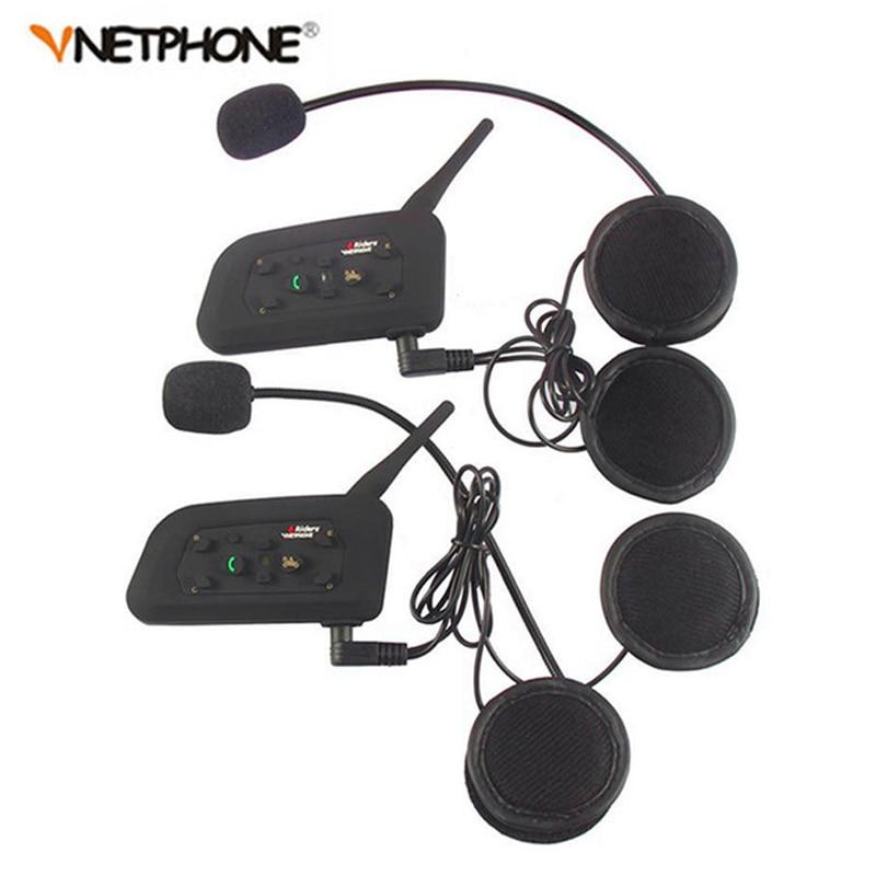 2PCS Pro BT Interphone 1200M Wireless Motorcycle Bluetooth Helmet Intercom Headset For 6 Rider
