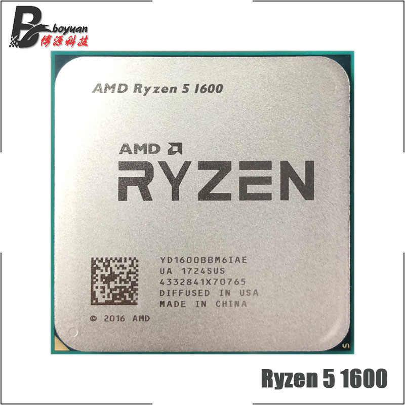 AMD Ryzen 5 1600 R5 1600 3.2 GHz Six-Core Twelve-Thread 65W CPU Processor YD1600BBM6IAE Socket AM4