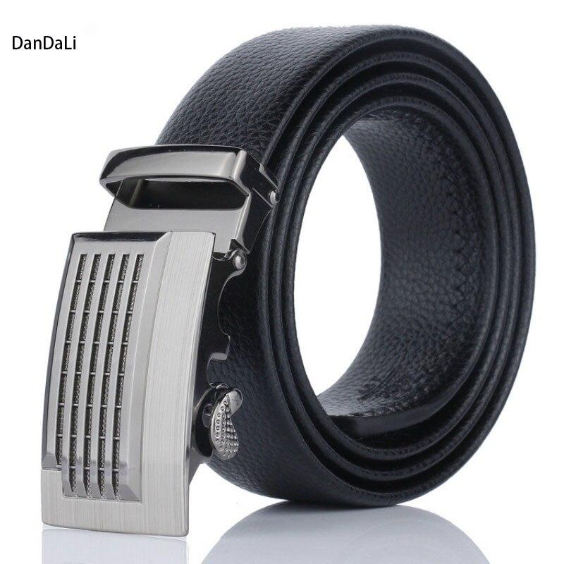 Černá umělá kůže Automatická spona Muži Pásek Cinturones - Příslušenství pro oděvy
