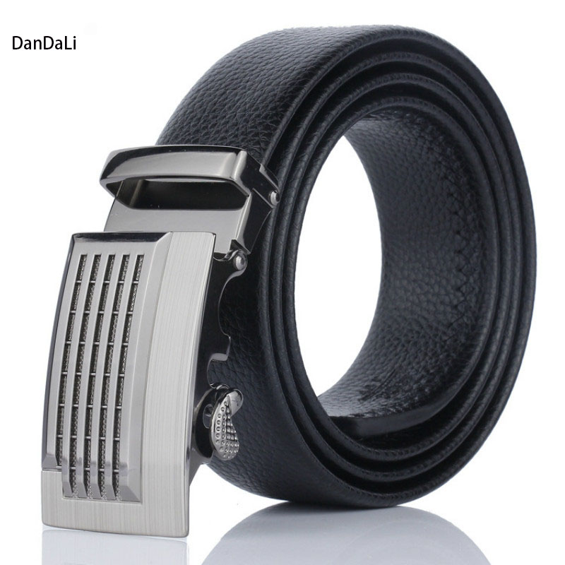 Black Artificial Leather Automatic Buckle Men
