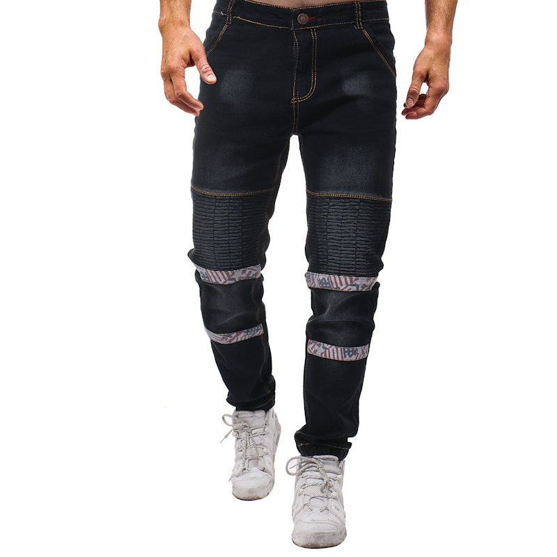 2018 New Men Zipper Jeans Fashion Pleated Pockets Jeans Men Slim Fit Washed Full High Street Black Pactchwork Floral Jeans Mens