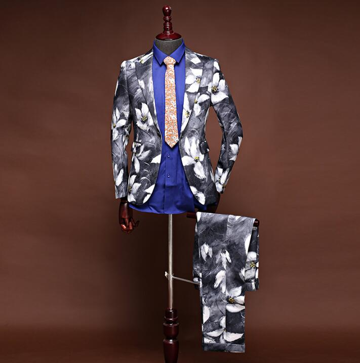 Chinese style printing wedding suits for men blazer boys prom mariage suits mens fashion ...