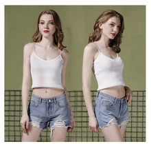 Sexy White Ripped Denim Shorts Women Jeans Blue Fray Hem Summer Clothes Plus Size Cotton Calca Jeans Feminino Fray(China)