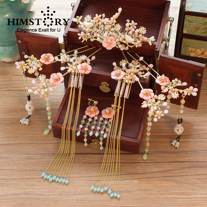 HIMSTORY Hairpin Comb Hair-Accessories Headdress Chinese-Costume Shell-Flower Bride Classic