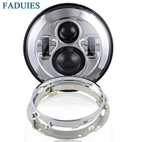 FADUIES Chrome Round 7 LED Projector Headlight + Chrome 7 Mounting Bracket Ring For Harley LED Motorcycle Lights