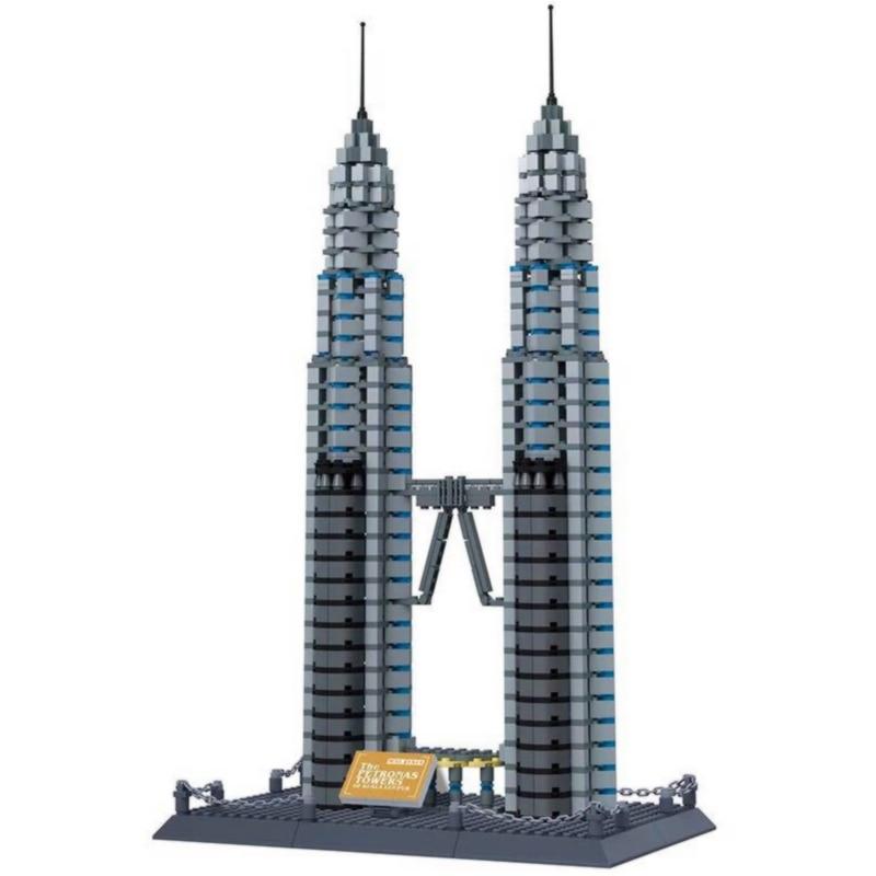 NEW WANGE Architecture Petronas Twin Towers Building Blocks Sets City Bricks Classic Skyline Model Kids Toys