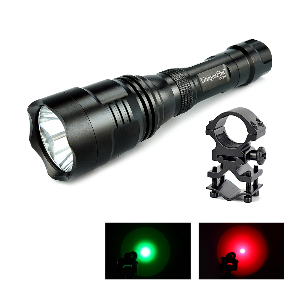 UniqueFire UF-HS801-XRE Tactical Flashlight With Green Light Red Light Waterproof IP65 Lamp Torch+Remote Pressure aresa hs 801