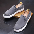 men personality party wedding dress genuine leather rivets shoes slip on lazy driving oxford shoe flats platform loafers zapatos