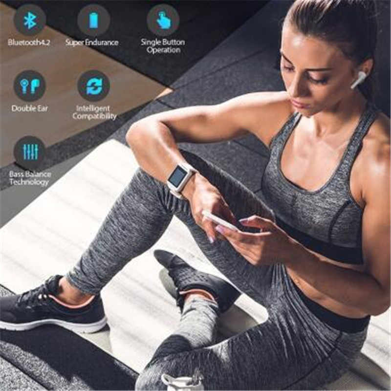 Bluetooth i7S СПЦ мини наушники стерео Бас Беспроводной гарнитуры с микрофоном зарядки окно для IOS Android PK S530 i9s i8s i10 i11