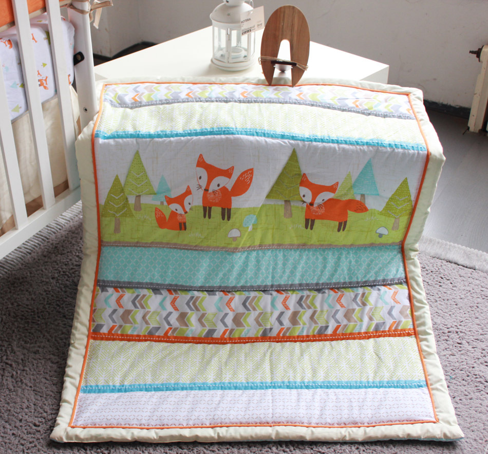 embroidery 3d prairie fox baby bedding set 7pcs 100% cotton baby
