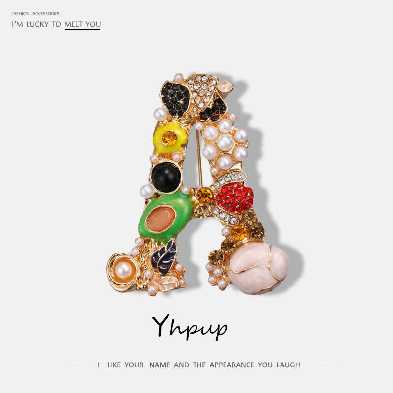 Yhpup Luxury Exquisite Letter Rhinestone Pearl Enamel Golden Brooch Pin For Women Colorful Brand Fashion Brooches Jewelry Gift