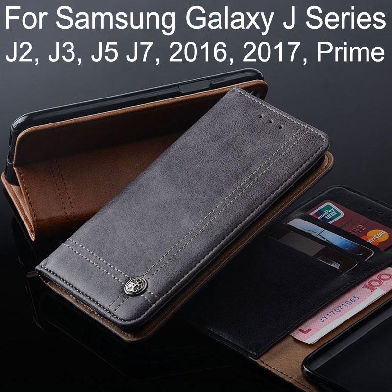 case for samsung galaxy j3 j5 j7 j2 2016 2017 prime coque Luxury Leather Flip cover Stand Card Slot Without magnets Wallet funda