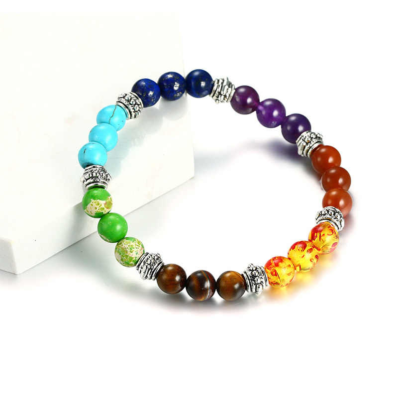 Vnox 7 Chakra Bracelet for Women Men Colorful Lava Healing Balance Beads Reiki Buddha Prayer Natural Stone Yoga Bracelet Jewelry