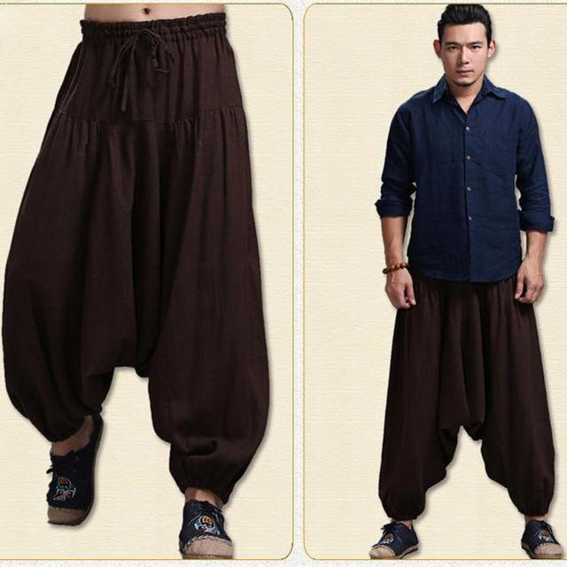 China Nacional Único de La Manera Cómoda de Algodón de Lino Cruz Hombres Pantalones Colgando Entrepierna Pantalones Hip Hop Grande Crotc Bloomers Pantalones