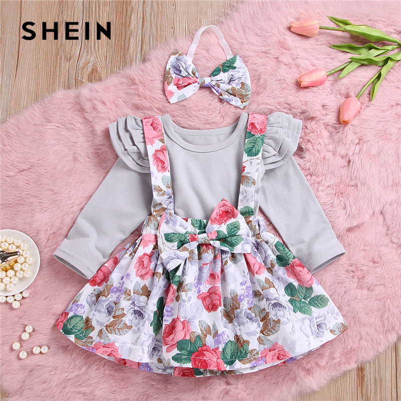 SHEIN Kiddie Baby Ruffle Trim Top And Floral Print Pinafore Skirt With Headband Kids 2019 Spring Long Sleeve Kids Clothes Sets floral print swing dress