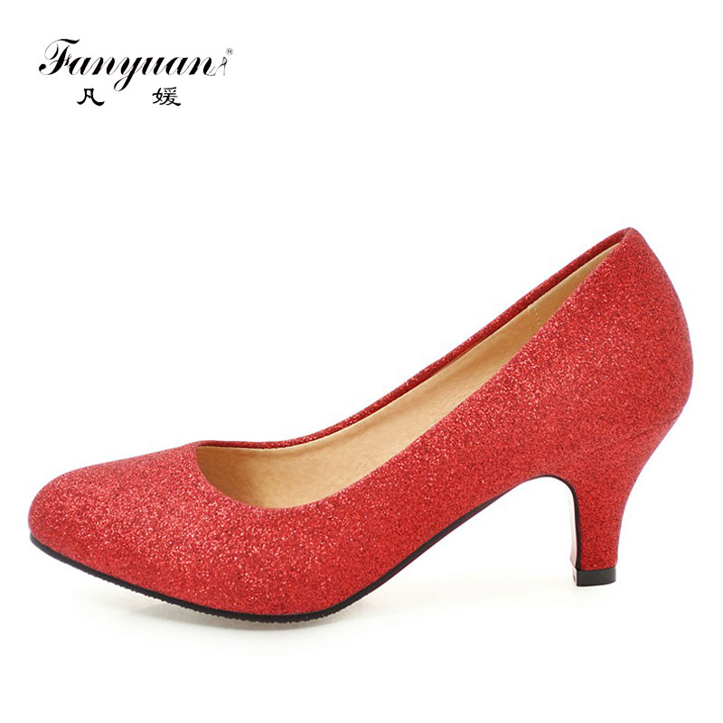 Fanyuan Women Pumps Bling High Heels spring Shoes Women Slip-On Spike Heels Round Toe Woman Sexy Wedding Party Shoes Gold Silver newest flock blade heels shoes 2018 pointed toe slip on women platform pumps sexy metal heels wedding party dress shoes
