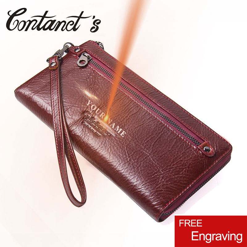 Contacts Women Clutch 2018 Genuine Leather Female Long Wallet Women Zipper Purse Strap Coin Purse For Phone case Card Holder