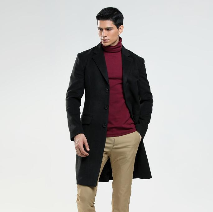 Medium length casual woolen coat men Single breasted trench coats long sleeves overcoat mens cashmere coat england spring autumn in Wool amp Blends from Men 39 s Clothing