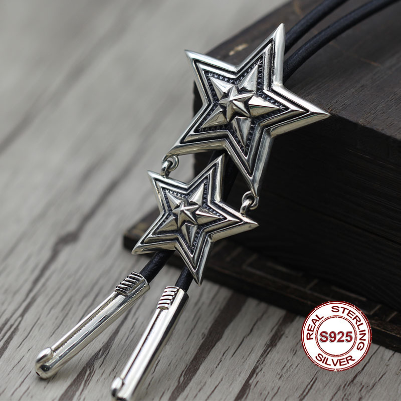 S925 sterling silver couple pendants Personality retro style Five-pointed star domineering shape Send lover