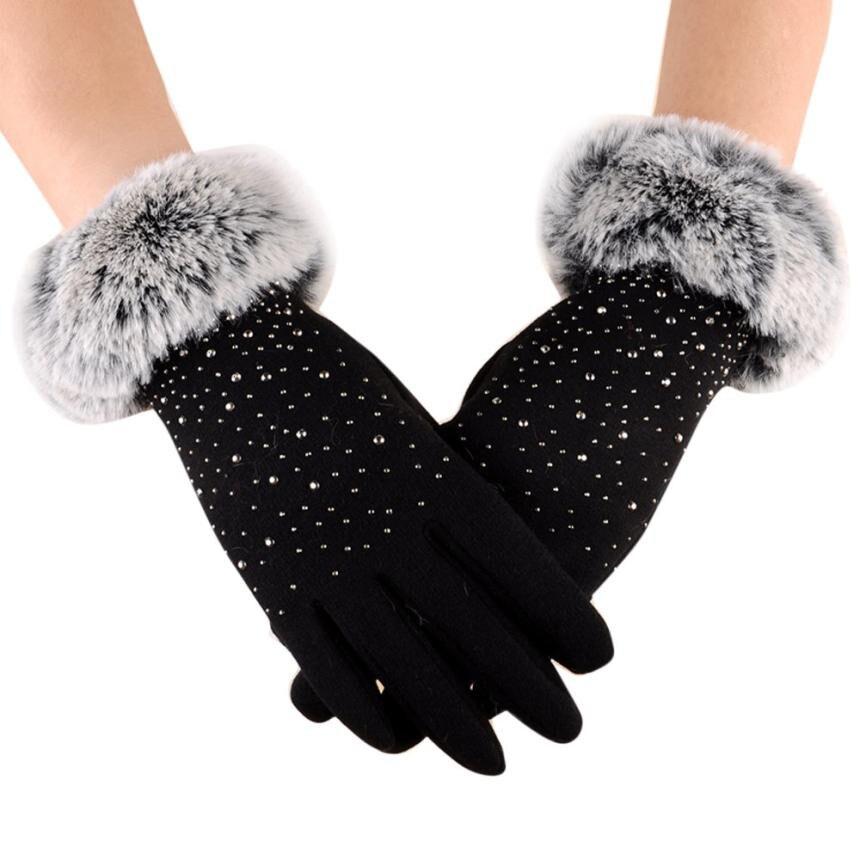 Women Full Finger Gloves Faux Fur Thicken Winter Warm Mittens Female Cashmere Gloves Hand Warmer Guantes Mujer #BF|Women