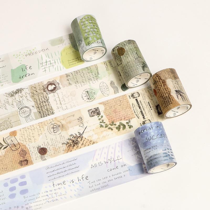 Vintage Poetry Stamp Washi Tape Decorative Sticky Paper Masking Adhesive Tape Scrapbooking DIY