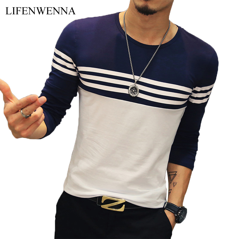 2019 Autumn Casual T Shirt Men Fashion Striped O Neck Long Sleeve Men's T Shirt Slim Fit Mens Clothes Trend Hip Hop Top Tees 5XL