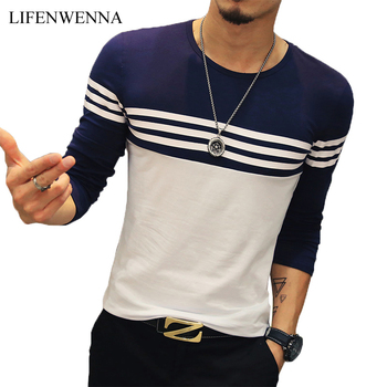 Autumn Casual T Shirt Men Fashion Striped O Neck Long Sleeve Men's T Shirt Slim Fit Mens Clothes Trend Hip Hop Top Tees 5XL