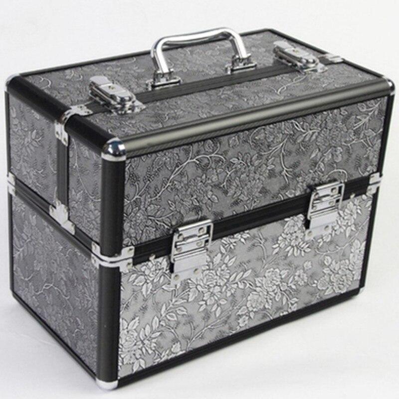 Rangement Voyage Sac argent Noir Cadeau Outils De D'aluminium Maquillage Bagages Cosmétique Bijoux Boîte Mariage Cas Professionnel D'anniversaire En gris Valise Alliage À w7Uaq1xF