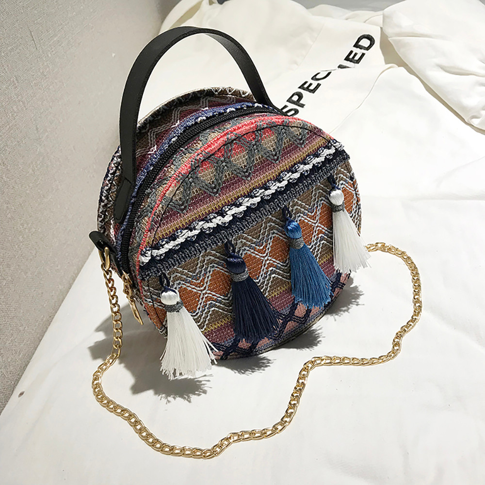Women Tassel Chain Small Bags national wind round bag packet Lady Fashion Round Shoulder Bag Bolsos Mujer#A02 96