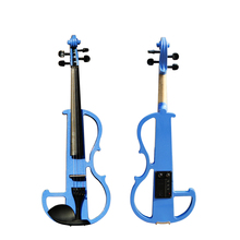 High quality, BlUE 4/4 violin Send violin Hard case, Handmade white electric violin with power lines and violin parts