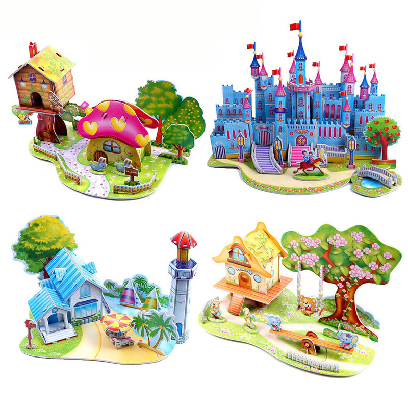 DIY 3D Puzzle Castle Model Cartoon House Assembled Jigsaw Learning Educational Creative Gifts Toys For Children Kids  Baby