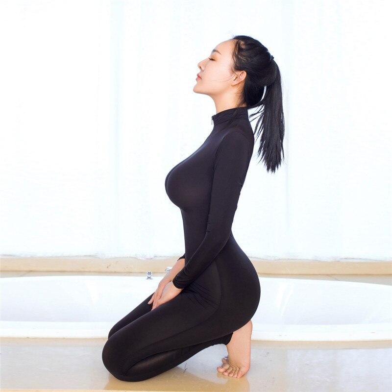 Jumpsuits 2018 Hot Summer Clothes Women Striped Sexy Bodysuit Zipper Long Sleeve Open Crotch Lingerie Jumpsuit For Women B15 A#487