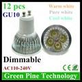 12 unids Regulable 4 W 3 W GU10 MR16 E27 B22 E14 GU5.3 LED Proyector de la lámpara Droplight Bombilla led downlight Lámpara de iluminación led led luz