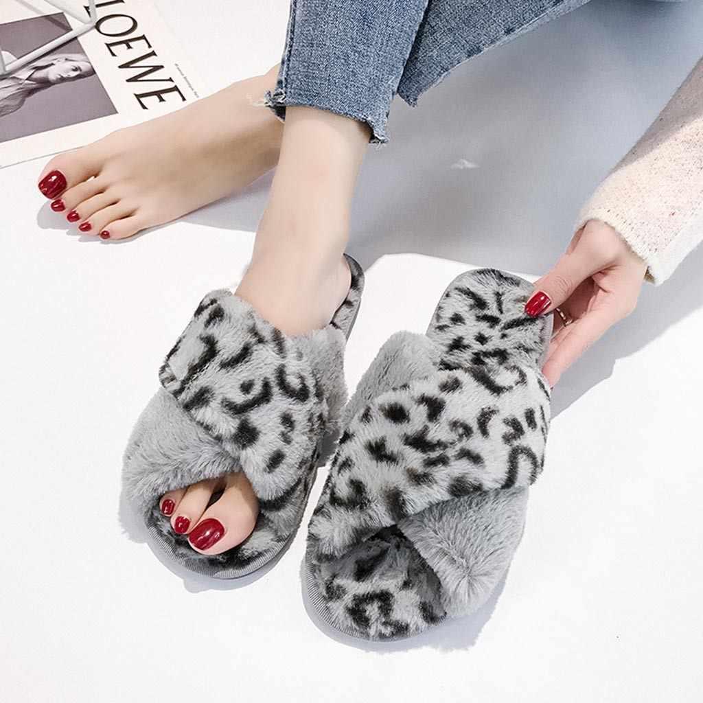 Frauen schuhe 2019 Warme Leopard Plüsch Weiche Hausschuhe Drinnen Anti-slip Boden Schlafzimmer Schuhe zapatos de mujer tacon bajo # y3