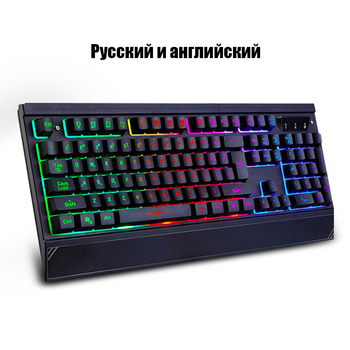 Colorful LED Backlight Gaming keyboard Teclado Gamer for PC Games Similar Mechanical Feel with Russian Sticker and Hand Holds Keyboards