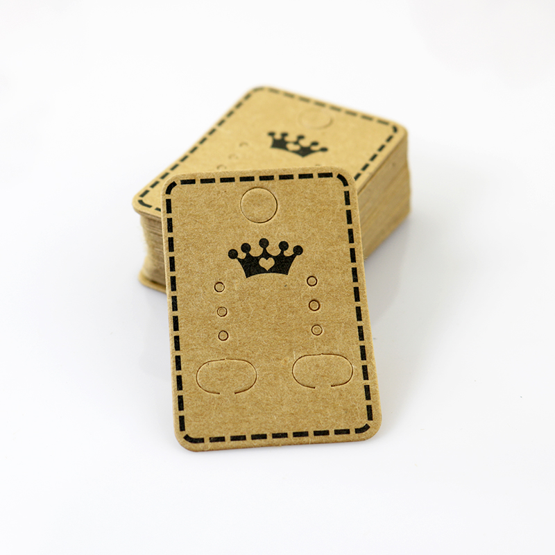 100Pcs 4.5x3.2cm Craft Paper Ear Studs Card Hang Tag Jewelry Display Earring Crads Favor Label Tag Brown Color Crown Printing