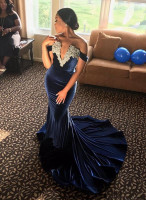 AED1217 Navy Blue Velvet Mermaid Long Evening Dress Off the shoulder Luxury Beads Crystal Prom Gowns Carpet Celebrit