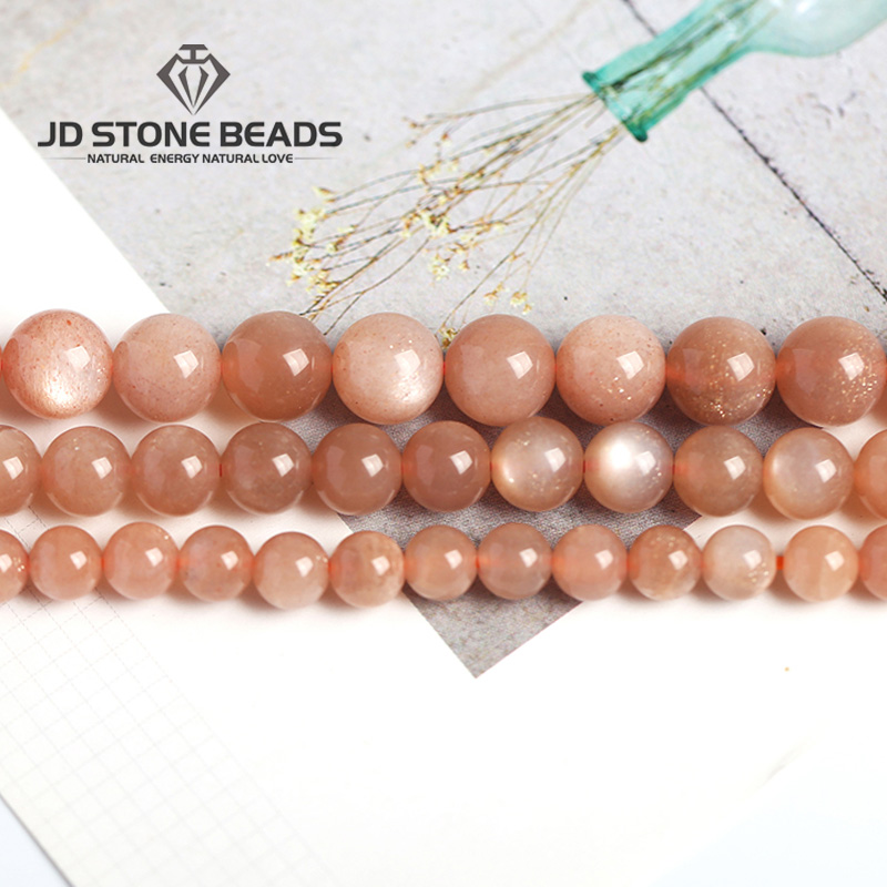 JD Stone Beads Free Shipping Natural Orange Moonstone Beads GEM Stone Beads DIY Accessory High Quality Wholesale Beads цена 2017